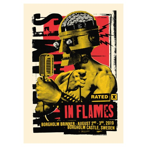 √Check The Mic Rated X von In Flames - Siebdruckposter jetzt im In Flames Shop