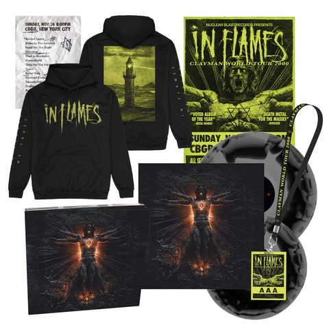 √Clayman 20th Anniversary Bundle - 2LP, CD, Poster, Setlist, AAA Pass, Hoodie von In Flames -  jetzt im In Flames Shop